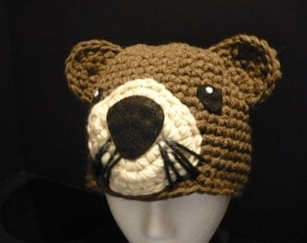 Handmade otter hat - unique and fun crocheted hat - made in the USA