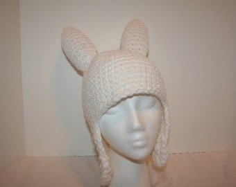 White hat with ear flaps and spikes - inspired by Fionna - toddler to child size