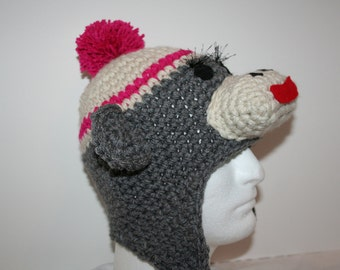 Adult size female sock monkey hat with eyelashes - unique hat made to look like a sock monkey in heather gray