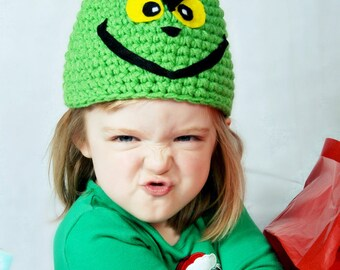 Adult size character hat  - Lime green winter hat inspired by the grinch - currently made to order