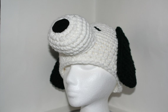 Baby size Unique and fun handmade character hat made to look like a dog - Snoopy colors