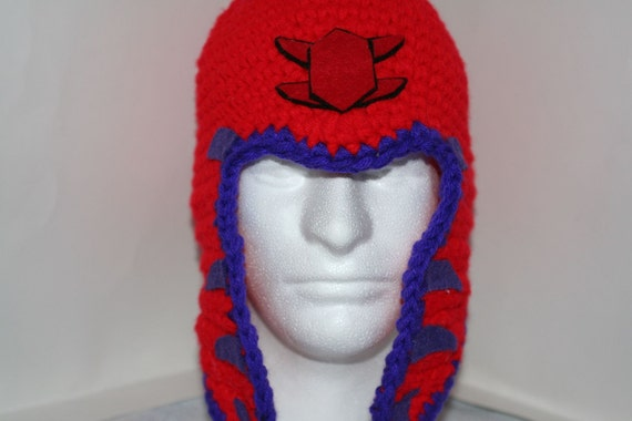 Large Red and purple helmet style hat  - inspired by Magneto's helmet from X men - currently made to order