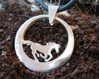 Sterling Silver Circle Breeze Horse Pendant