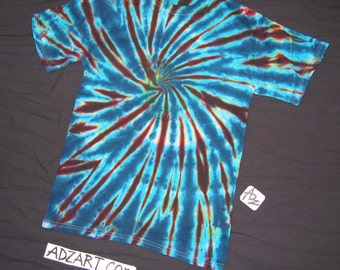 Small, 'Spiral in Blues', Short Sleeve, Hand-Dyed Original
