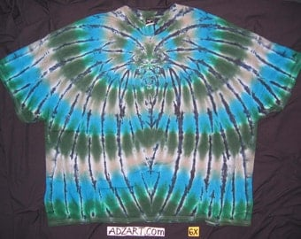 6X 'Spider with Blue & Green', Tee, Hand-Dyed Original