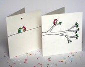 FREE SHIPPING - Birdie Note Card Duo