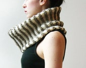 OP/KINETIC Cowl/Shrug in Beige and White