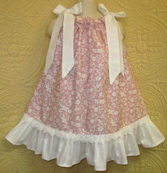 Girls Size Fits 2T to 3T Mauve Pink Flowers Boutique Pillowcase Dress