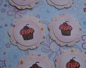 6 Cupcake Scallop Tags