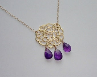Amethyst Gold Scribble Necklace
