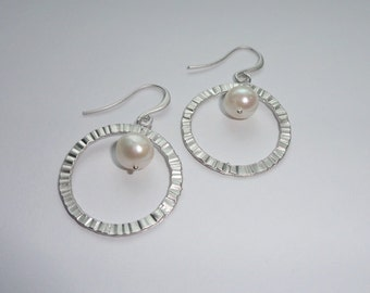 Encircled White Pearl Earrings