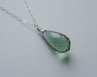 Long Sterling Silver Chain Green Amethyst Briolette Necklace
