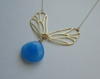 Blue Chalcedony Butterfly Wings Necklace