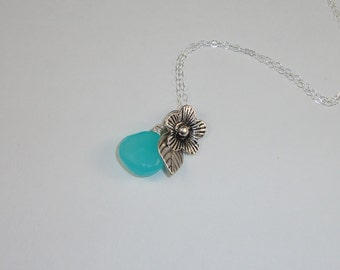 Blue Chalcedony Flower Necklace