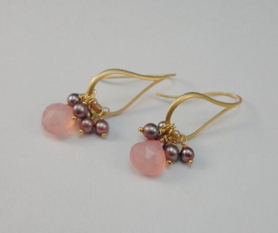 Pink Chalcedony & Pearl Earrings