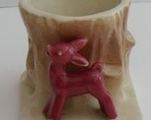 OH DEER! Vintage 1950s Pottery Planter with Little Red Deer