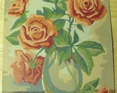 Vintage Paint by Number Painting Coral Roses