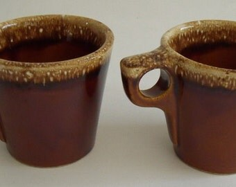 2 Vintage HULL Brown Drip Mugs for Coffee, Hot Chocolate, Soup
