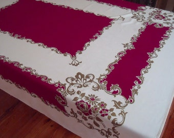Vintage Gorgeous Maroon Gold Cream Cotton Rayon Tablecloth 50 x 64