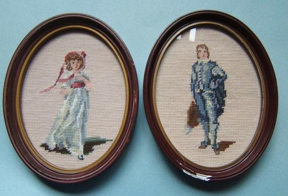 Vintage PINKIE and BLUE BOY Framed Needlepoint