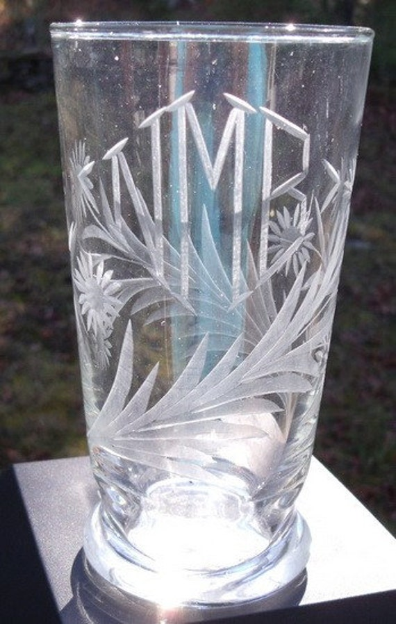 Mid-century Glass Vase with Engraved Daisies and Initials One of a Kind Shabby Chic