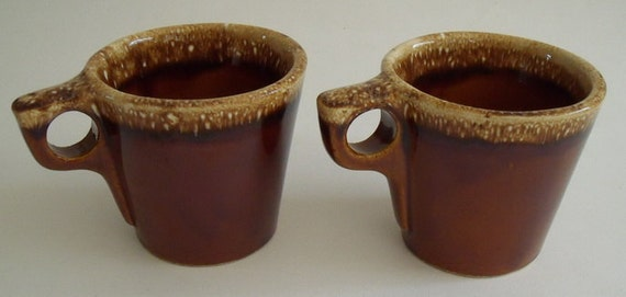 2 Vintage Brown Drip Hull Mugs for Coffee, Hot Chocolate, Soup