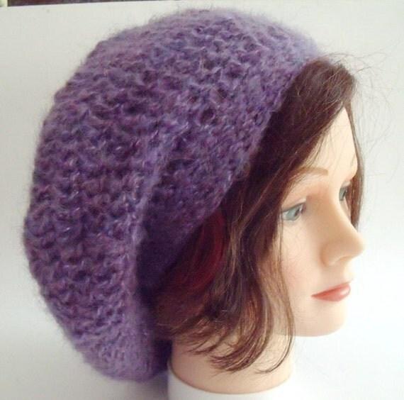 Slouchy Hippie Rasta Hat Beret Purple Mohair Hand Crocheted