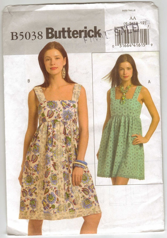 Wedding Dress Patterns Empire Line : Butterick easy sew pattern for misses a line dress empire bodice
