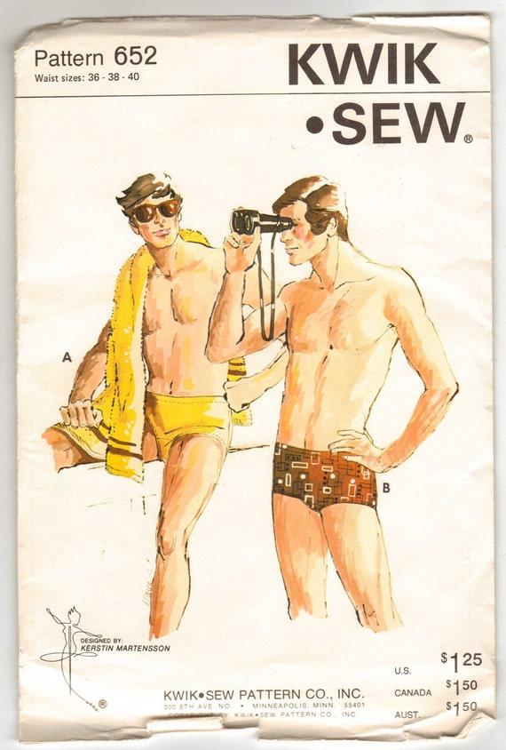 Kwik Sew Pattern 652 for  Men's Swim Trunks in Bikini or Regular Style Sizes 36-38-40 New and Uncut