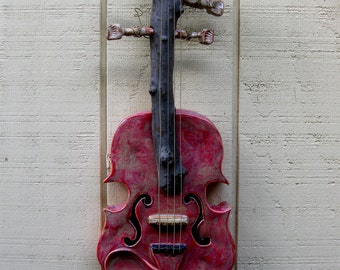 Red Violin Ceramic Sculpture