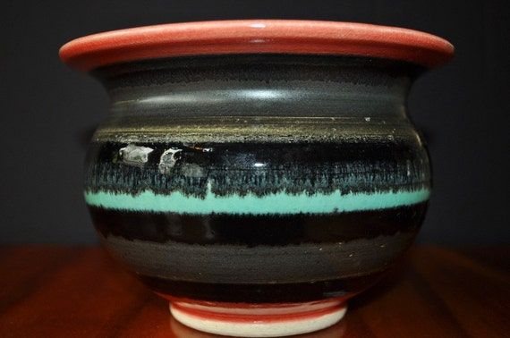 Blue Horizon Black Sky Ceramic Spittoon shaped bowl