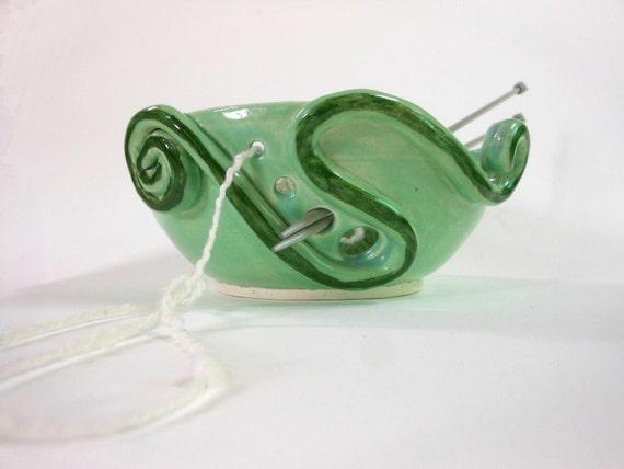 Green Swirls Yarn Bowl