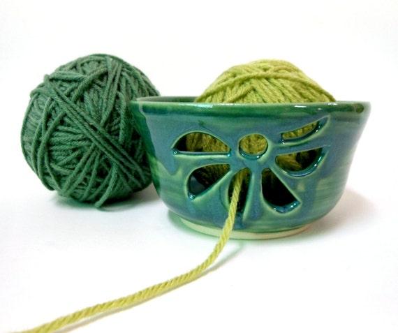Peacock Green Ceramic Yarn Bowl
