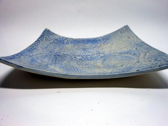 Decorative Blue and White Square Plate
