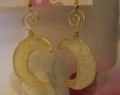 Crescent Moon Rose of Sharon Petal Earrings