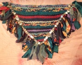 Evening Flowers woven hip scarf, belly dance, faerie cosplay (size medium)