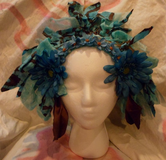 Woven Teal Daisy Faerie Headdress for Belly Dance, Halloween, Cosplay
