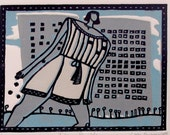 Relief printmaking linocut - I am a Building