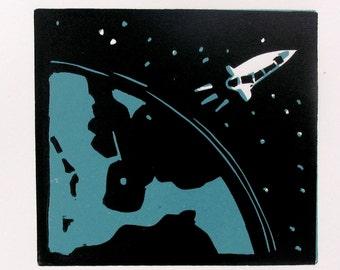 Space linoleum print