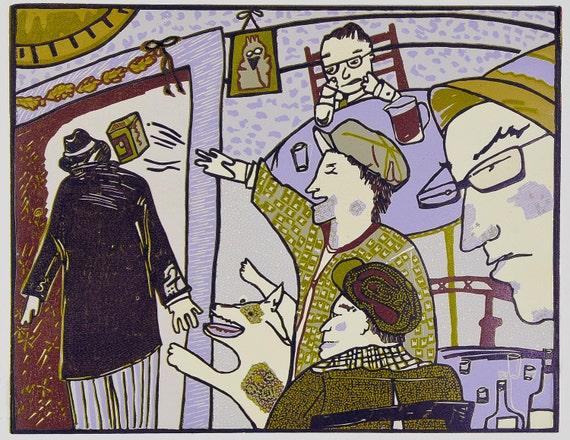"Linocut relief print The Crackerbox Joyce's ""Ulysses""."