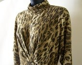 1980s Vintage animal print dress.  Long sleeve.  80s size med large 8.