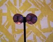 1940s Copper Clip on earrings/ Deco earrings/ Vintage copper/ 40s