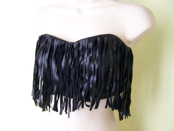 ON HOLD/RESERVED for S.W. 1980s leather bustier /  Fringe leather /  80s / black sexy top