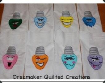 Holiday Lightbulbs Machine Embroidered Quilt Blocks Set B