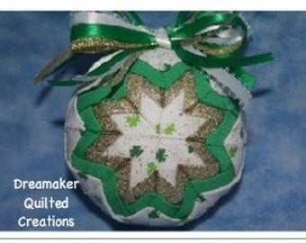 Handmade Shamrock Irish Quilted Ornament