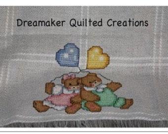 Tender Teddies Counted Cross Stitch Baby Blanket