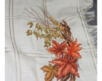 Fall Leaves Counted Cross Stitch Throw