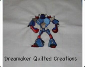 Optimus Prime Transformer Machine Embroidered Quilt Block