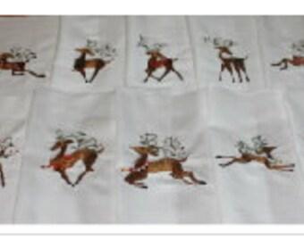 Holiday Reindeer Machine Embroidered Quilt Blocks Set