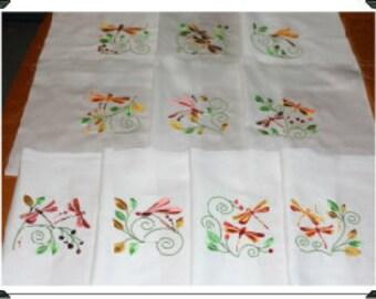 Fall Dragonflys Machine Embroidered Quilt Blocks Set